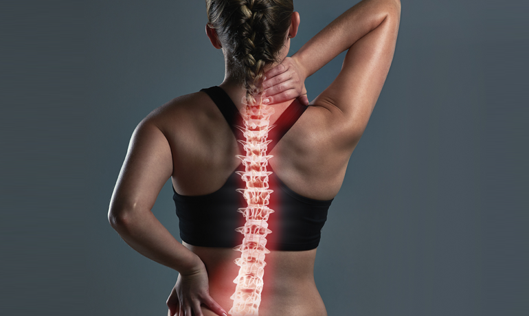 Woman with spinal injuries